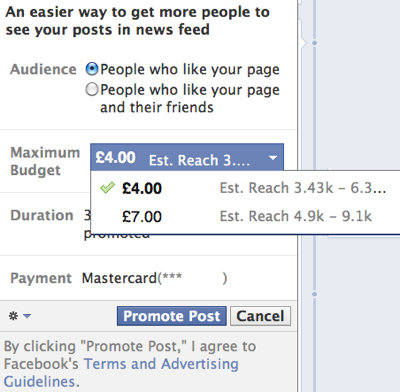 Facebook promoted post example